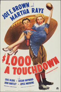 "$1000 a Touchdown (Paramount, 1939). Folded, Very Fine-. One Sheet (27"" X 41""). Comedy"