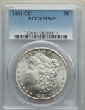 Morgan Dollars, 1881-CC $1 MS65 PCGS. PCGS Population: (4973/1939). NGC Census: (2141/900). CDN: $600 Whsle. Bid for NGC/PCGS MS65. Mintage...