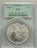 Morgan Dollars: , 1883-O $1 MS65 PCGS. PCGS Population: (9490/1064). NGC Census: (11219/1100). CDN: $125 Whsle. Bid for NGC/PCGS MS65. Mintag...
