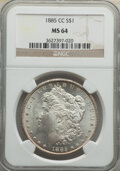 Morgan Dollars, 1885-CC $1 MS64 NGC. NGC Census: (3805/2587). PCGS Population: (8458/5907). CDN: $585 Whsle. Bid for NGC/PCGS MS64. Mintage...