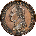 Colonials, 1783 RES COPPER Washington & Independence Cent, Draped Bust, No Button, Copper Restrike, Plain Edge PR62 Brown NGC. Baker-3, ...