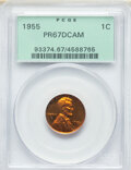 Proof Lincoln Cents, 1955 1C PR67 Deep Cameo PCGS. PCGS Population: (29/15). NGC Census: (22/9). . From The Maltese Collection....