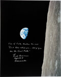 "Explorers:Space Exploration, Frank Borman Signed Large Apollo 8 ""Earthrise"" Color Photo..."