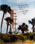 Explorers:Space Exploration, Fred Haise Signed Large Apollo 13 Launch Vehicle Color Pho...