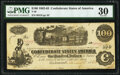 Confederate Notes:1862 Issues, Issued Jan. 16, 1863 T40 $100 1863 PF-20 Cr. 308 PMG Very Fine 30.. ...