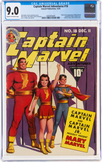 Captain Marvel Adventures #18 (Fawcett Publications, 1942) CGC VF/NM 9.0 Cream to off-white pages