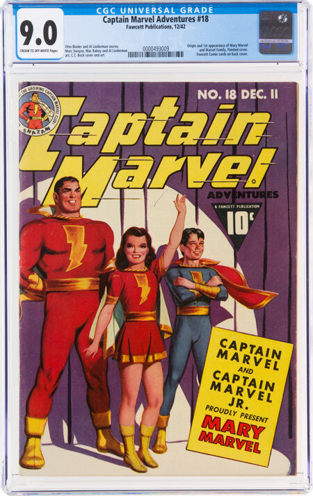 Captain Marvel Adventures #18 (Fawcett Publications, 1942) CGC VF/NM 9.0 Cream to off-white pages....