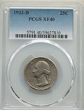 Washington Quarters, 1932-D 25C XF40 PCGS. PCGS Population: (321/4648). NGC Census: (160/2521). CDN: $135 Whsle. Bid for NGC/PCGS XF40. Mintage ...