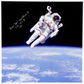 Explorers:Space Exploration, Space Shuttle Challenger (STS-41-B): Bruce McCandless Signed Large Untethered EVA Color Photo. ...