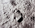 Explorers:Space Exploration, Michael Collins Signed Large Apollo 11 Moon Bootprint Phot...