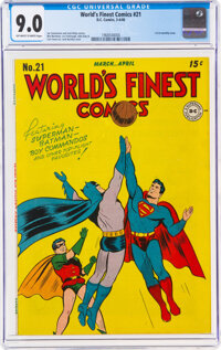 World's Finest Comics #21 (DC, 1946) CGC VF/NM 9.0 Off-white to white pages