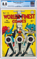 Golden Age (1938-1955):Superhero, World's Finest Comics #7 (DC, 1942) CGC VF 8.0 Off-white pages....