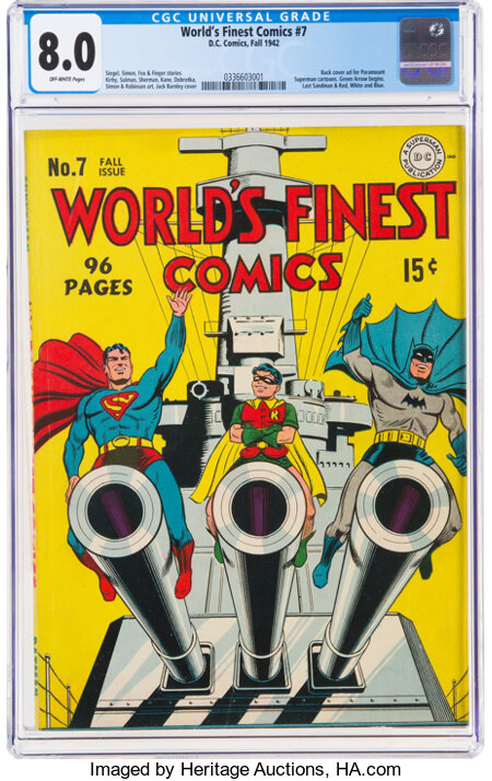 World's Finest Comics #7 (DC, 1942) CGC VF 8.0 Off-white pages....