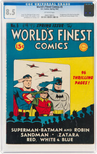World's Finest Comics #5 (DC, 1942) CGC VF+ 8.5 Off-white pages