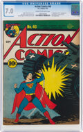 Golden Age (1938-1955):Superhero, Action Comics #40 (DC, 1941) CGC FN/VF 7.0 Cream to off-white pages....