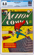 Golden Age (1938-1955):Superhero, Action Comics #56 (DC, 1943) CGC VF 8.0 Off-white to white pages....