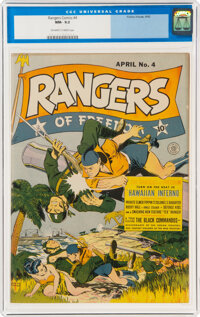 Rangers Comics #4 (Fiction House, 1942) CGC NM- 9.2 Off-white to white pages