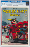 Golden Age (1938-1955):Superhero, World's Finest Comics #30 (DC, 1947) CGC NM- 9.2 Off-white to white pages....