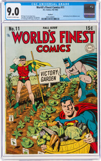 World's Finest Comics #11 Rockford Pedigree (DC, 1943) CGC VF/NM 9.0 Off-white to white pages