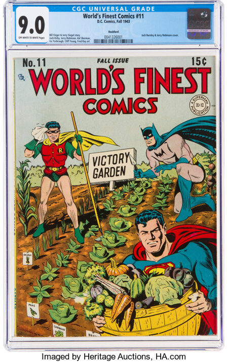 World's Finest Comics #11 Rockford Pedigree (DC, 1943) CGC VF/NM 9.0 Off-white to white pages....