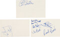 Music Memorabilia:Autographs and Signed Items, The Troggs Collection of Signatures on Index Cards (3)....
