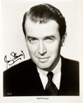 Movie/TV Memorabilia:Autographs and Signed Items, Jimmy Stewart Signed Portrait Still from Nig...