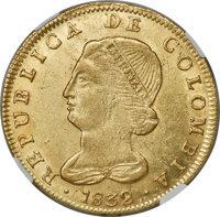 Colombia: Republic gold 8 Escudos 1832 BOGOTA-RS MS61 NGC