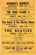 Music Memorabilia:Posters, The Beatles 1965 Shea Stadium Orange-Paper Handbill w/Many Other Stars....
