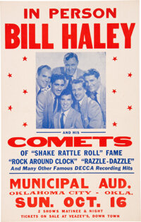 Bill Haley & His Comets 1955 Concert Poster w/Elvis Presley as Unlisted Opening Act