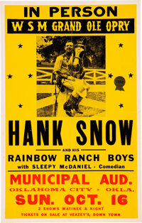 Hank Snow 1955 Concert Poster w/Elvis Presley as Unlisted Opening Act