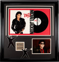 Music Memorabilia:Autographs and Signed Items, Michael Jackson Signed Color Photo Matted With Bad Vinyl LP....