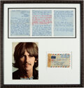 Music Memorabilia:Autographs and Signed Items, George Harrison Handwritten Note to Datebook Editor With Original Mailing Envelope in Large Matted and Framed Disp...