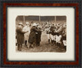 Baseball Collectibles:Photos, 1929 New York Yankees Watch Ceremony with Babe Ruth & Lou Gehrig Original News Photograph....