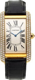 Timepieces:Wristwatch, Cartier, Large Size Tank Americaine Automatic, 18k Gold Di...