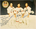 Explorers:Space Exploration, Apollo 16 Crew-Signed White Spacesuit Color Photo Originally from the Personal Collection of Alvin Bishop, Jr....