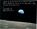 """Explorers:Space Exploration, James Lovell Signed Large Apollo 8 """"Earthrise"""" Color Photo with Full Name Signature, Handwritten Description, and Photographic..."""