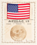 Explorers:Space Exploration, Apollo 12 Flown American Flag on Crew-Signed Presentation ...