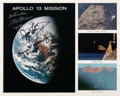Explorers:Space Exploration, Apollo 13: Mission Collage Color Photo Signed by James Lov...