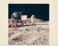 """Explorers:Space Exploration, John Young Apollo 16 """"Leaping Flag Salute"""" Original NASA """"Red Number"""" Color Photo. ..."""