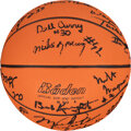 Basketball Collectibles:Balls, 1984 USA Olympic Basketball Trials Invitees Signed Mini Basketball with Michael Jordan....
