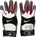 Football Collectibles:Others, 2000 Jerry Rice Game Worn & Inscribed San Francisco 49ers Gloves From 12/3 vs Chargers - Last 2 Touchdowns as a 49er!...