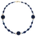 Estate Jewelry:Necklaces, Sapphire, Freshwater Cultured Pearl, Gold Necklace. ...