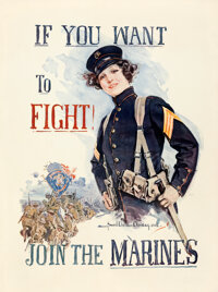 "World War I ""Christy Girl"" Recruiting Poster (U.S. Marines, 1915). Fine/Very Fine on Linen. Howard Chandler Ch..."