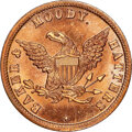 U.S. Merchant Tokens (1845-1860), (1853-57) Chicago, Illinois, Baker & Moody, Hatters, M. ILL-4 MS65 Red and Brown NGC. Copper, plain edge.. Ex: Donald G. P...