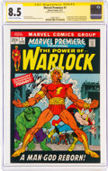 Bronze Age (1970-1979):Superhero, Marvel Premiere #1 Warlock - Signature Series: Roy Thomas (Marvel, 1972) CGC VF+ 8.5 Off-white to white pages....