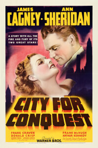 """City for Conquest (Warner Bros., 1940). Very Fine+ on Linen. One Sheet (27"""" X 41.5"""")"""