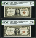 Small Size:World War II Emergency Notes, Fr. 2300 $1 1935A Hawaii Silver Certificates. Two Consecutive Examples. PMG Choice Uncirculated 63 EPQ.. ... (Total: 2 notes)