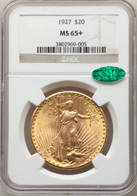1927 $20 MS65+ NGC. CAC. NGC Census: (21289/2779 and 395/93+). PCGS Population: (30151/6546 and 1087/275+). CDN: $2,310...