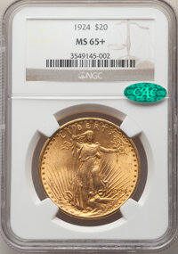 1924 $20 MS65+ NGC. CAC. NGC Census: (36229/5507 and 607/197+). PCGS Population: (50499/10089 and 1111/297+). CDN: $2,31...