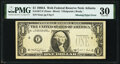Missing Green Portion of Third Printing Error Fr. 1917-F $1 1988A Web Federal Reserve Note. PMG Very Fine 30
